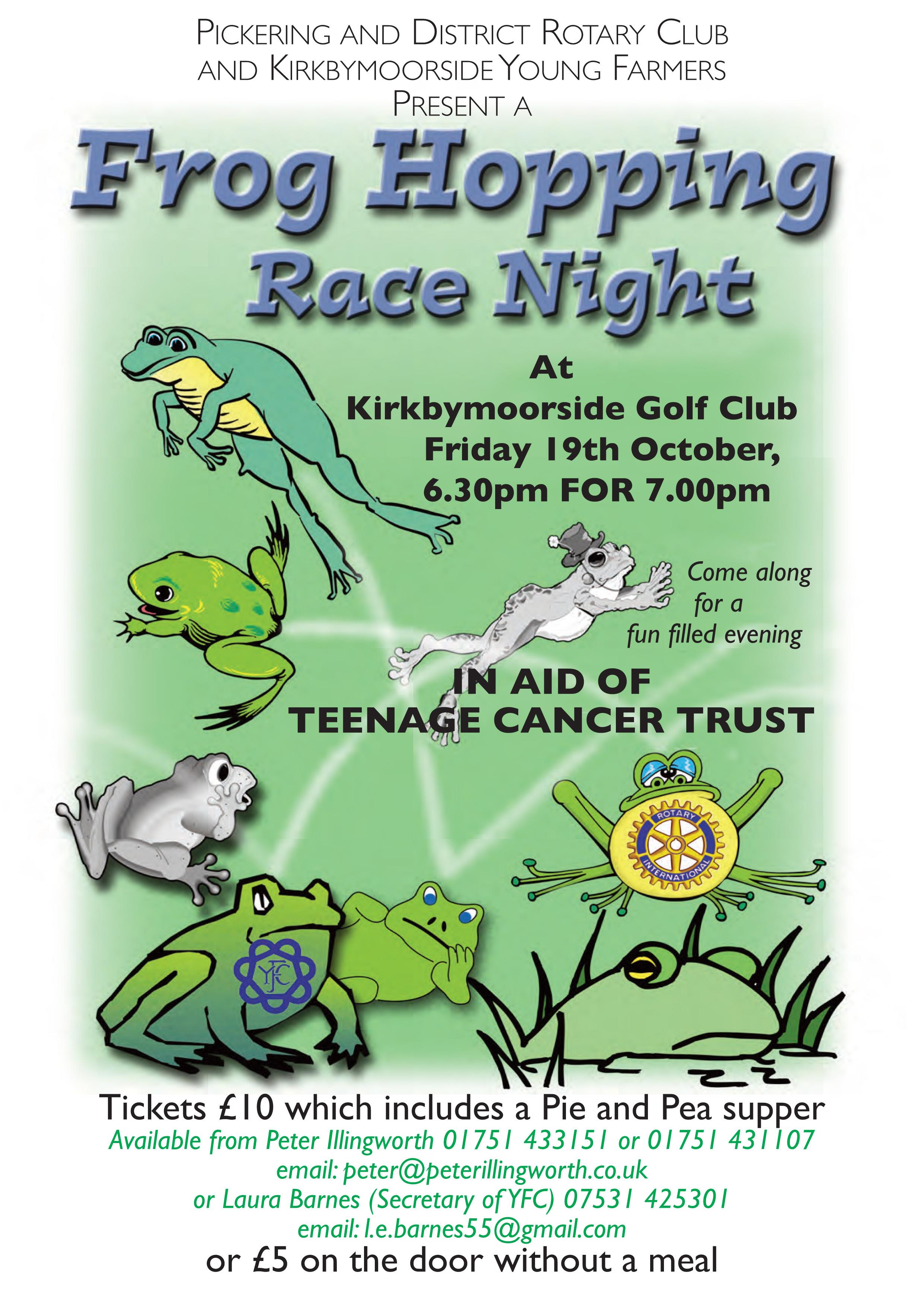 Kirkbymoorside Young Farmers and Pickering Rotary Club - Frog Hopping Race Night